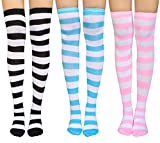 Chalier 3 Pairs Womens Long Striped Socks Over Knee Thigh High Socks Stocking, Wide Stripes, One Size