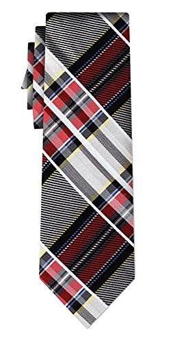 Cravate soie tartan pattern silver w red