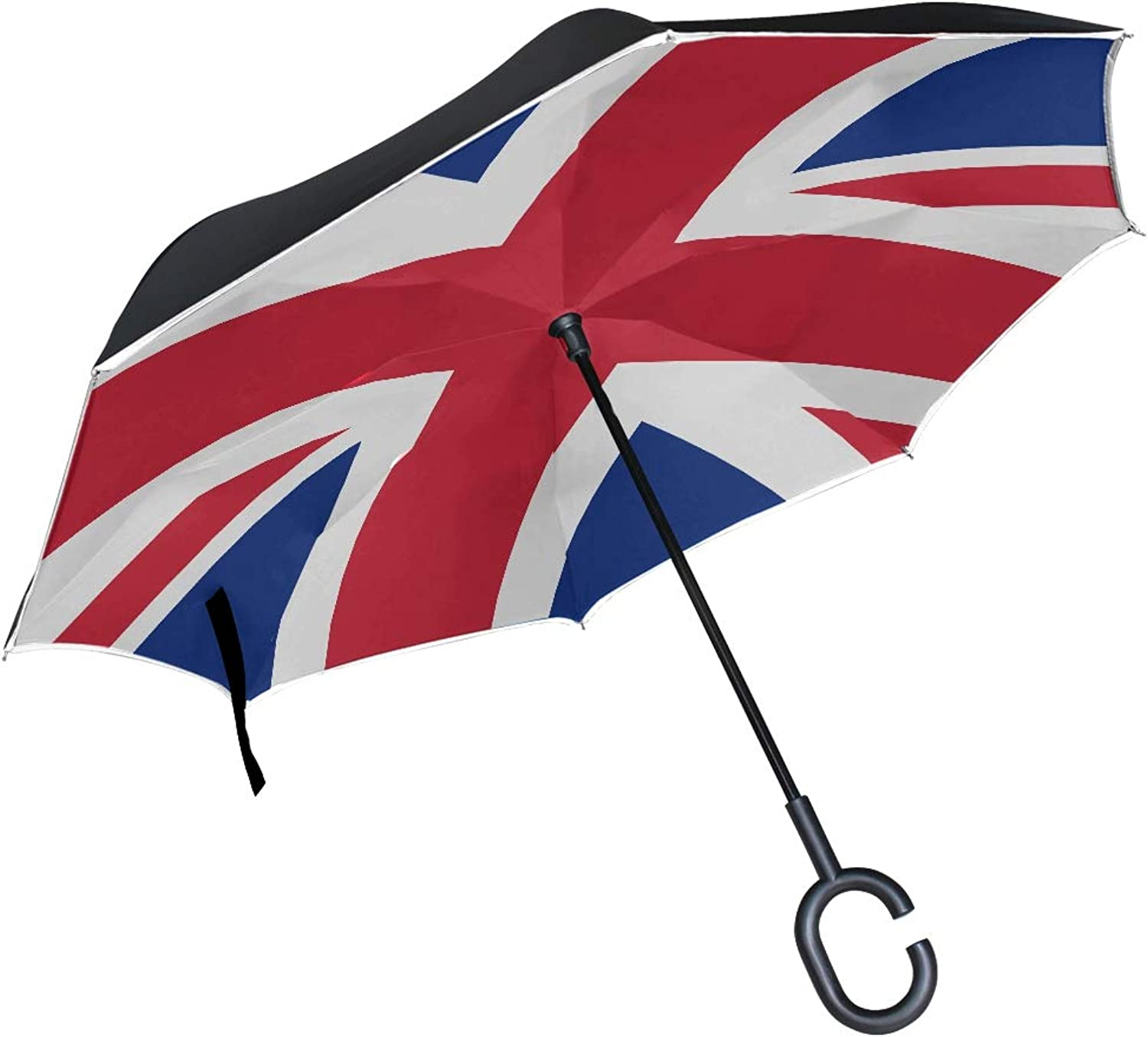 Double Layer Ingreened British Flag Pictures UK Flag Pictures Union Jack Umbrellas Reverse Folding Umbrella Windproof Uv Predection Big Straight Umbrella for Car Rain Outdoor with CShaped Handle