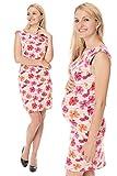 GoFuture Damen Umstandskleid Stillkleid 3in1 Gioia GF2305XM in korall-weiß gestreift Plus rosane, rote und orangene Blumen