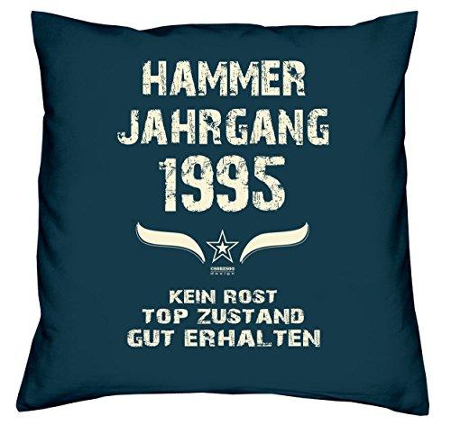 Hammer Jahrgang 1995 Deko Kissen Sofakissen mit Füllung und Urkunde Geschenk 25 Geburtstag Geschenkidee für Frauen Farbe: Navy-blau