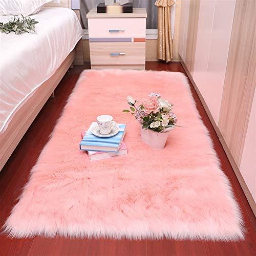 Jnszs Felpa suave sala de estar, dormitorio, alfombra de lana de imitación de pelo largo, cojín de cama, cojín de sofá, cojín blanco y rojo para sala de estar (color: FS1 8, tamaño: 50 x 80 cm)