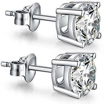 CZ Studs Women Sterling Silver Diamond Earrings Brilliant Cut Cubic Zirconium Earrings Sterling Silver Cubic Zirconia Earrings Simple Fuax Diamond Earring Studs Fake Diamond Earrings for Women