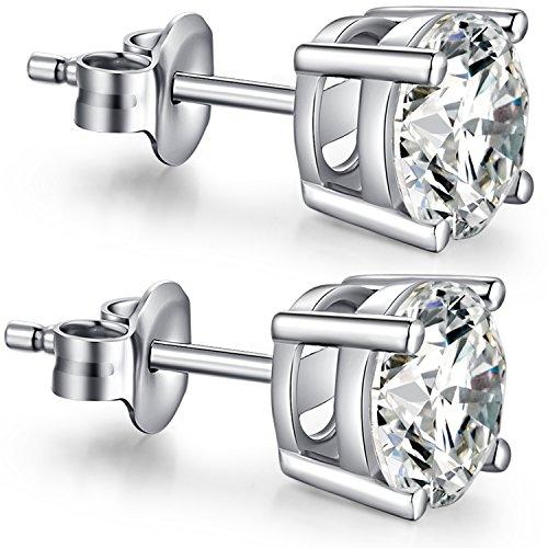Cubic Zirconium Earrings Sterling Silver Cubic Zirconia Earrings Hypoallergenic Sterling Silver Diamond Earrings Silver CZ Studs Women Cubic Zirconia Earrings Faux Diamond Earrings