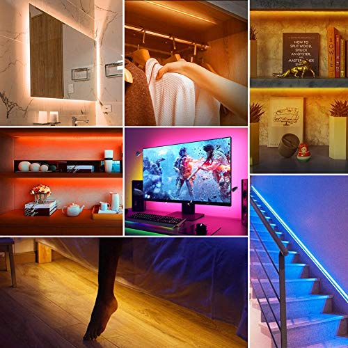 Under Bed Lights,LEHOU 6.56ftX2 Motion Activated Illumination RGB Include Warm Color LED Strip Light Kit Motion Sensor Night Light with Automatic Shut Off Timer for Bed, Cabinet, Stair,Toilet (Double)