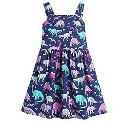 2. Frogwill Fifties Summer Blue Rainbow Toddler Dinosaur Dress