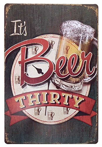 ERLOOD It's Beer Thirty Vintage Funny Home Decor Tin Sign Retro Metal Bar Pub Poster 8 x 12
