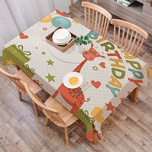 Tischdecke abwaschbar 140x200 cm,Geburtstagsdeko für Kinder, Alte Comic-Giraffe mit Luftballons und Sternen, Grünrosa und Ringelblum,Ölfeste Tischdecke, geeignet für die Dekoration von Küchen zu Hause