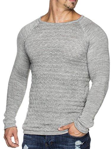 Tazzio Styler doppel Muster Strick-Pullover mit weitem Rundhals-Ausschnitt 16404 Grau L