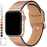 SUNFWR Compatible pour Bracelet Apple Watch 38mm 40mm 42mm 44mm,Top en Cuir Véritable Bracelet,Multicolore de Montre Compatible avec iWatch Série 5/4/3/2/1 (38mm 40mm, Rose Or +Adaptateur Or Rose)