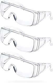 Safety glasses Goggles (3 pairs Pack) Transparent Goggles Chemical Splash Impact Resistant Enclosed Safety Goggle Clear Anti Fog Shot Glasses Anti-Dust Anti-UV Lens Eyewear For Outdoor sports, work, etc.