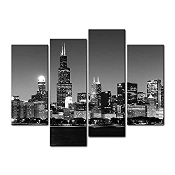 Chicago City 4 Pieces Modern Canvas Painting Wall Art The Picture for Home Decoration View of Chicago Skyline at Night in Black and White Place Cityscape Print On Canvas Giclee Artwork for Wall Décor