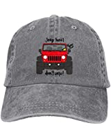 Jeep Hair Don't Care Classic Vintage Washed Denim Cap Baseball Hats Unisex