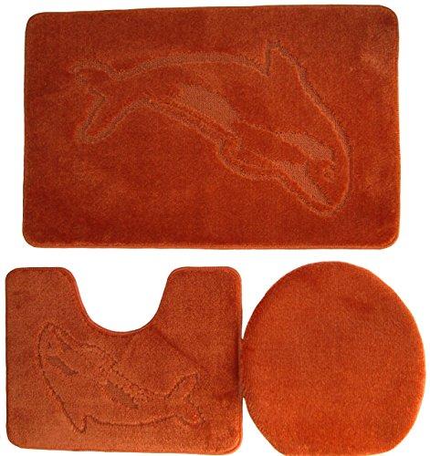 Ilkadim Delphin Badgarnitur 3 TLG. Set 55x85 cm einfarbig, WC Vorleger mit Ausschnitt für Stand-WC (terrakotta)