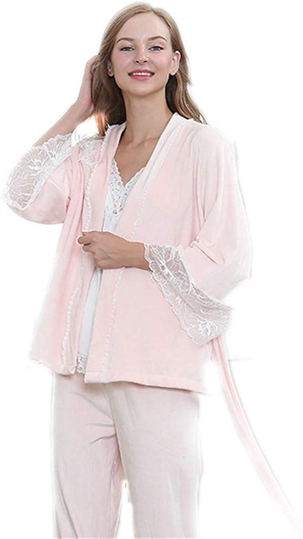 Women's Winter Pajamas Set Elegant 3 Pcs Loungewear Nightwear Nightie Female (color   Pink)