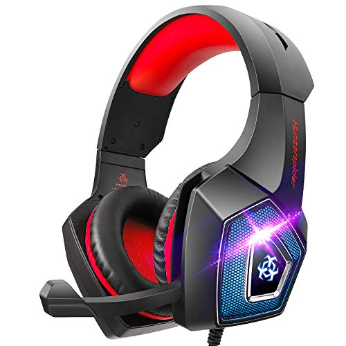 Hunterspider Gaming Headset for PS4,Surround Sound Noise Cancelling Gaming Headset with Microphone&LED Light,Gaming Headphones Compatible with Nintendo Switch/Mac/Xbox one(Adapter Not Included)
