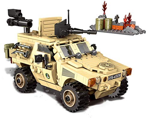QXB French VBL Light Armored Army Vehicle Military Building Blocks (451 PCS)