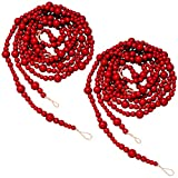Syhood 2 Pieces Wooden Beaded Garland Christmas Wood Bead Garland 13.6 Feet Christmas Tree Garland Boho Decorations Wall Hanging Farmhouse Home Decor Rustic Country Natural Holiday Decoration (Red)