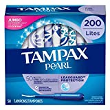 Tampax Pearl Tampons with Plastic Applicator, Light Absorbency,200 Count, Unscented (50 Count, Pack of 4 - 200 Count Total)