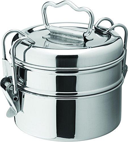 Utopia en acier inoxydable Poêles de présentation, seaux et casseroles, F91132, 2 étages Tiffin Box 10,8 cm (11 cm) H : 14,6 cm (14.5 CM) (boîte de 6)