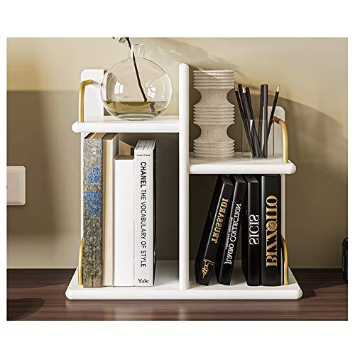 Estantería para Libros Librería de estantería de escritorio con estante ajustable de la mesa izquierda y derecha Organizador de almacenamiento Pantalla estantería para suministros de oficina, cocina,