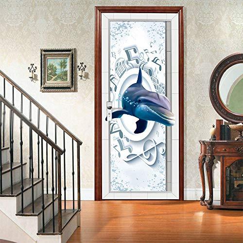 JCMTE Türtapete Selbstklebend Türposter - Fototapete Türfolie Poster Tapete Meerestiere Delfine 80X200Cm Abnehmbar Pe Schälen Und Stock Wandtapete Zum Wohnzimmer Küche Schlafzimmer Wandaufkleber