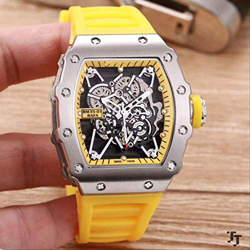 N-A Klassische Mode Herrenuhr Gummi Saphir Edelstahl 904l Automatik Mechanisch Silber Tourbillon Skeleton Uhren LimitedGelb
