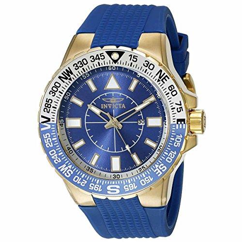 Invicta 19270 Men's Aviator Blue Dial Blue Silicone Strap Compass Watch