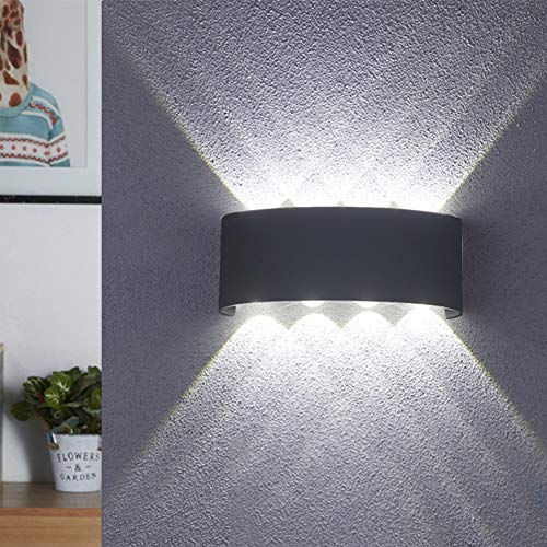 BELLALICHT LED Wandleuchte Außen Innen Wandlampe 8W Wasserdicht IP65 Modern Up Down Leuchte Wandlicht Aluminium Wandbeleuchtung für Bad Flur Kinderzimmer Treppenhaus Wohnzimmer Schlafzimmer