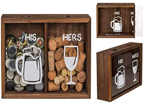Caja de madera para tapa de bebidas, chapas y corcho, dos compartimentos