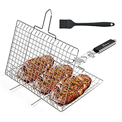 WolfWise Portable BBQ Grilling Basket 430 Stainless Steel Removable Handle