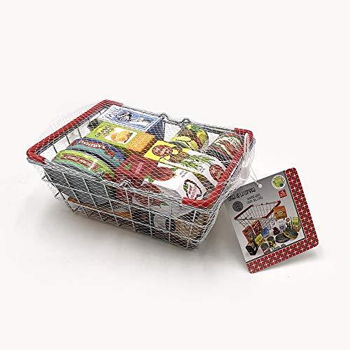 Tachan - Cesta de la compra metálica con alimentos, 15 piezas