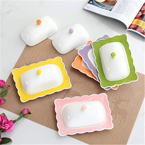 Plato de Mantequilla Inicio Restaurante Creativo Cerámico Color Glaseado Placa de glaseado Encaje Placa de Mantequilla Placa de Mantequilla Caja de Mantequilla con Tapa Fácil de Almacenar