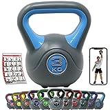 [page_title]-POWRX Kettlebell Kunststoff 2-20 kg inkl. Workout I Kugelhantel in versch. Farben und Gewichten I Bodenschonende Schwunghantel (3 kg - Hellblau)