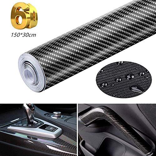Eagool Pellicola Adesiva 6D Carbonio/Rivestimento Adesivo Adesiva Nero per Auto/Car Stickers/Wrapping Auto e Moto/Fai da te/1520mm x 300mm