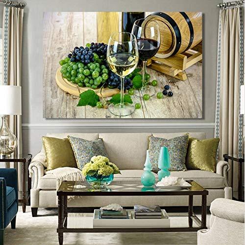 wZUN Cartel de Naturaleza Muerta Moderna y Grabado Arte Mural Lienzo Pintura Botella de Vidrio de Vino Tinto decoración de la Sala Pintura 50x75 cm