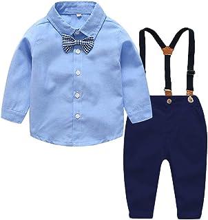Natashas Baby Jungen Bekleidungssets Gentleman Anzug Kleinkinder Baumwolle Kurzarm Taufanzug Kinderbekleidung Hemd+Shorts+Bogen