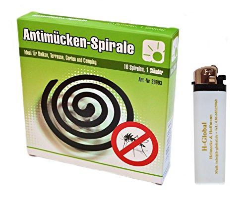 * 10er Pack Anti-Mücken-Spiralen Mückenabwehr Insektenabwehr + Feuerzeug