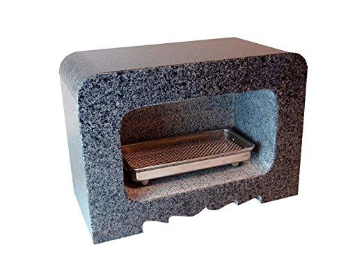 香炉 角型 墓前用 Bタイプ グレー御影石 線香皿付き 墓石