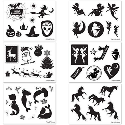 Fairy, Mermaid, Unicorn, Halloween, Christmas Die Cut Stickers - No Adhesive Reusable Clings - Fairy Silhouette for Jars(16oz) - Glass Decals for Arts & Crafts Project - 49 Pieces of 6 Theme (Black)