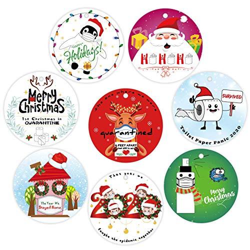 8PCS Christmas Tree Decorations Hanging Ornaments - Xmas Craft 2020 Quarantine Gag Gifts /White Elephant Party Decor