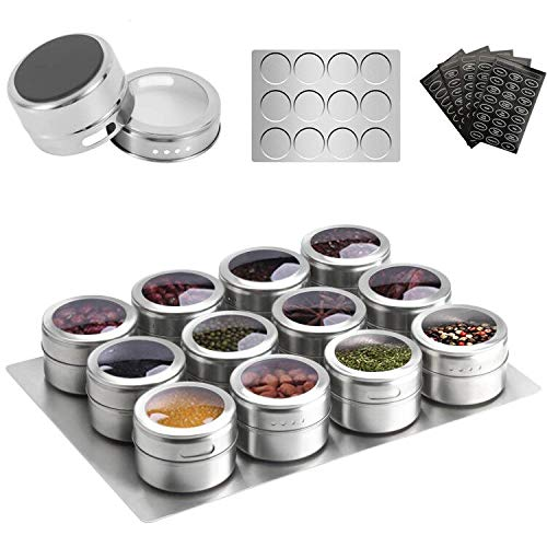 Aiyola Magnetic Spice Jars 12pcs with Wall Base Stainless-Steel Magnetic Spice Container Magnetic Spice Tins Easy to Clean and Rust Free Includes 120 Labeling Stickers
