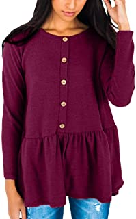 Intimate Boutique Women's Long Sleeve Button Down Flare Ruffle Tunic Top