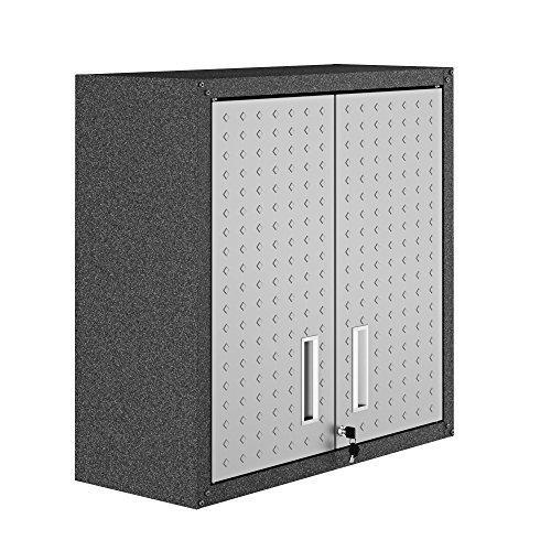 Manhattan Comfort Fortress Floating Garage Storage Cabinet, Black/Grey