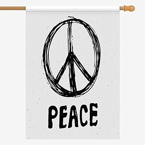 InterestPrint Peace Symbol Grunge Hippie or Pacifist Sign House Flag House Banner, Decorative Yard Flag for Wishing Party Home Outdoor Decor, 28' x 40' (Without Flagpole)