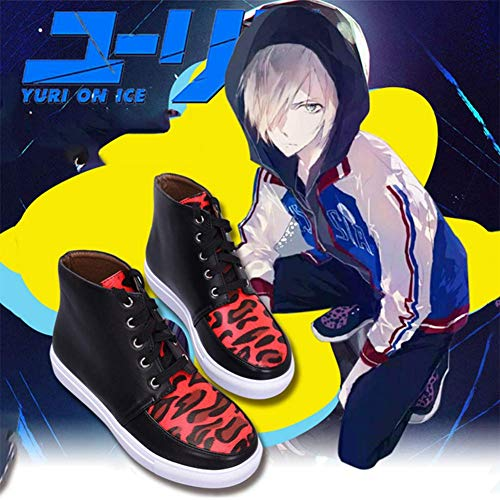 GGOODD Sneakers High Tops Shoes Anime Yuri!!! on ICE Yuri Plisetsky Cosplay Red Leopard Print High Boots with Rubber Sole for Men and Women,Black,36