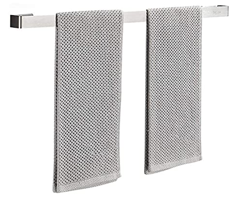 xqkj Toallero sin agujeros, autoadhesivo, adhesivo patentado, pared, aluminio, acabado mate, 50 cm, acero inoxidable plateado