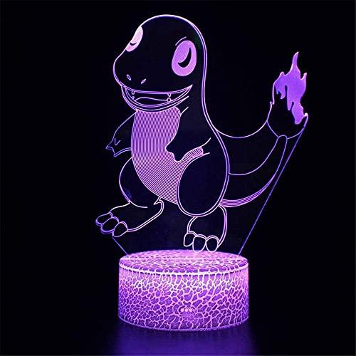 Charmander Lámpara 3D ilusión creatividad noche luz USB carga mesa mesa lámpara regalo perfecto cumpleaños Navidad para bebés adolescentes niños