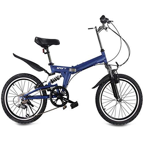 Dybory 20-Zoll-Faltrad, Unisex 6-Gang-Fahrrad Rennrad, Kinder-Mountainbike Tragbares Leichtes Faltrad, Aluminium, Komfortsattel,Blau