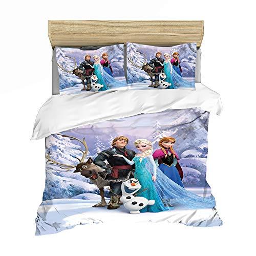 WYWZDQ - Ropa de cama infantil con impresión digital 3D, microfibra hipoalergénica, incluye funda nórdica y funda de almohada, diseño de Frozen: El reino del hielo